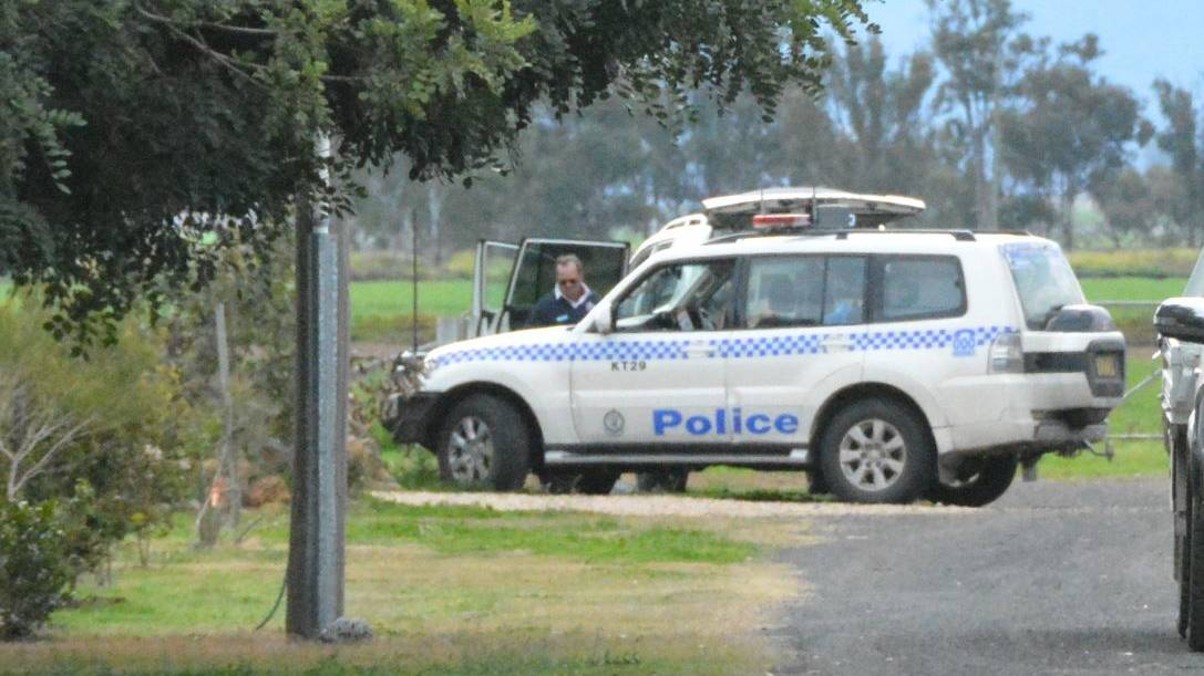 Case adjourned: Police at the scene of the alleged murder in Gunnedah on July 8. Photo: Jessica Worboys