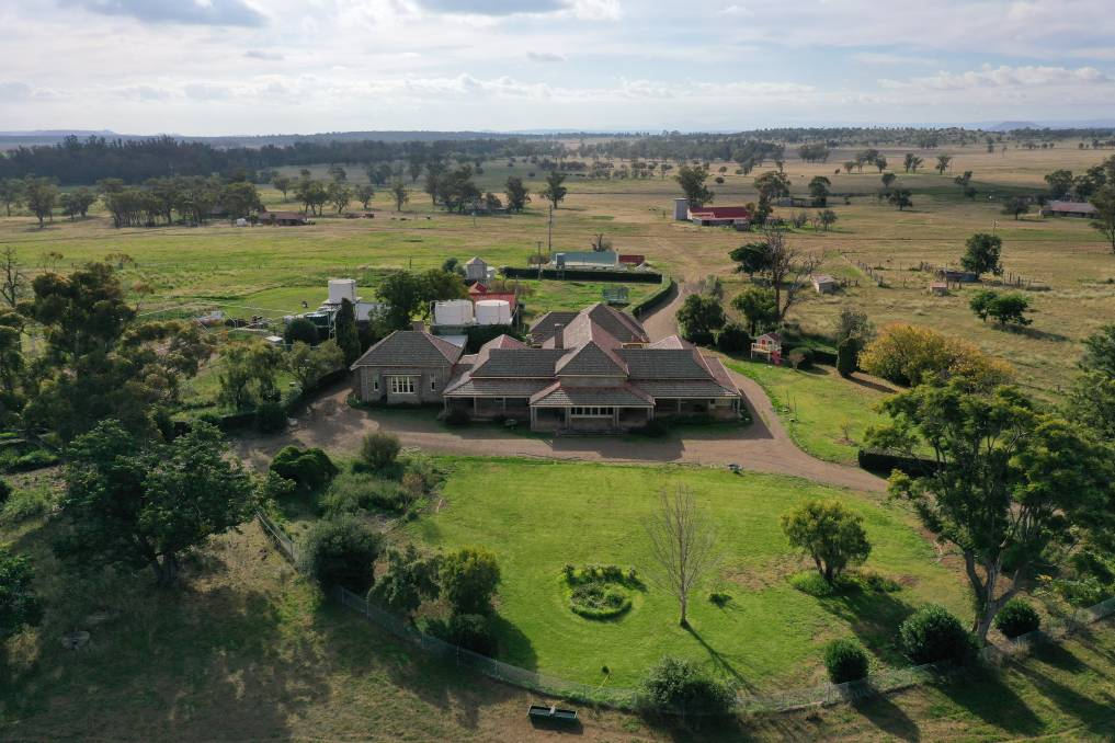An aerial shot of the Mackellars former family residence, Kurrumbede. The property borders the Namoi River, about 25km out of Gunnedah on the Blue Vale Road. Photo: Stewart Surveys