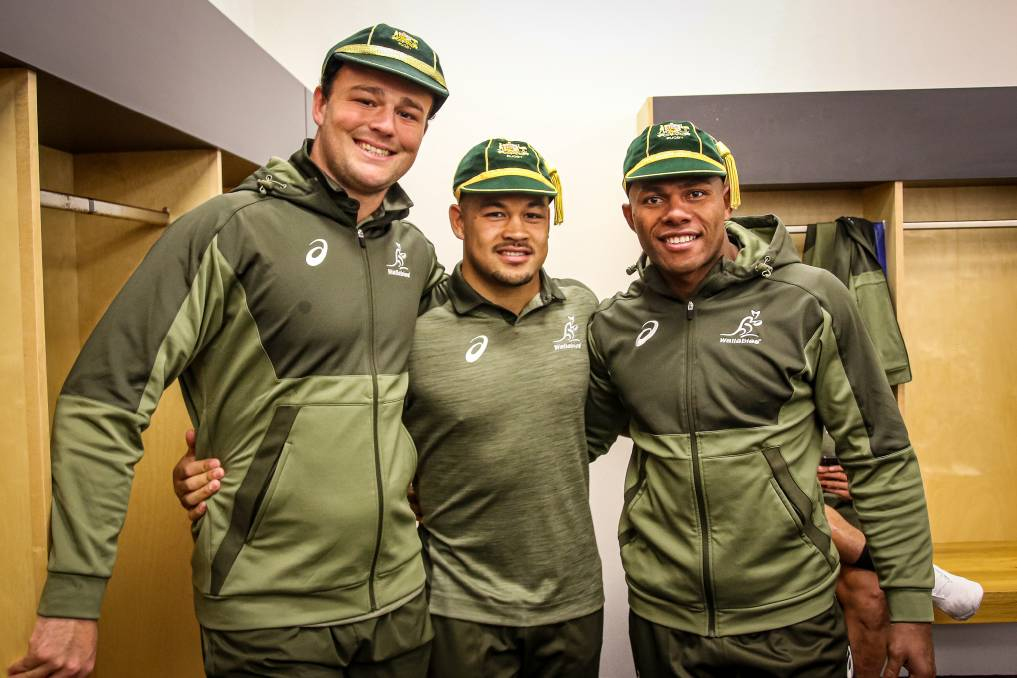 Harry with fellow debutants Hunter Paisami and Filipo Daugunu. The Gunnedah product has been shifted to No.8 for Sunday's second test. Photo: Andrew Phan/Wallabies Media.