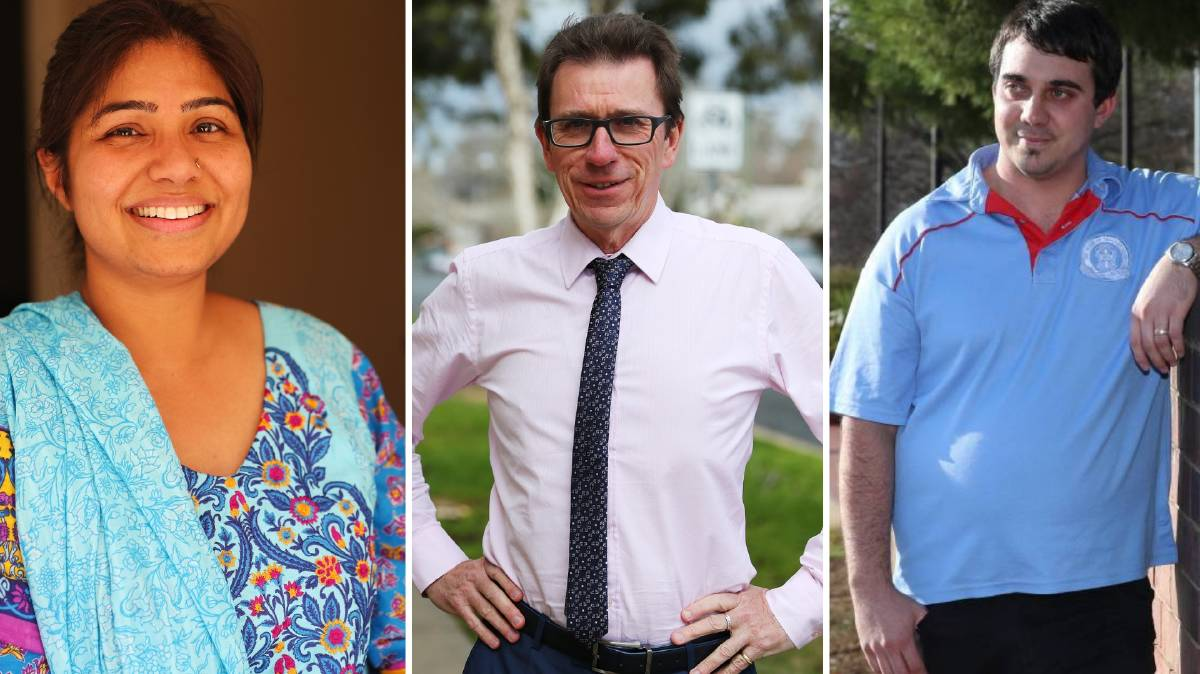Wagga parents Dr Saba Nabi and Cameron Abood (R) and Wagga MP Dr Joe McGirr weigh into whether parents should supply tissues, soap and whiteboard markers.