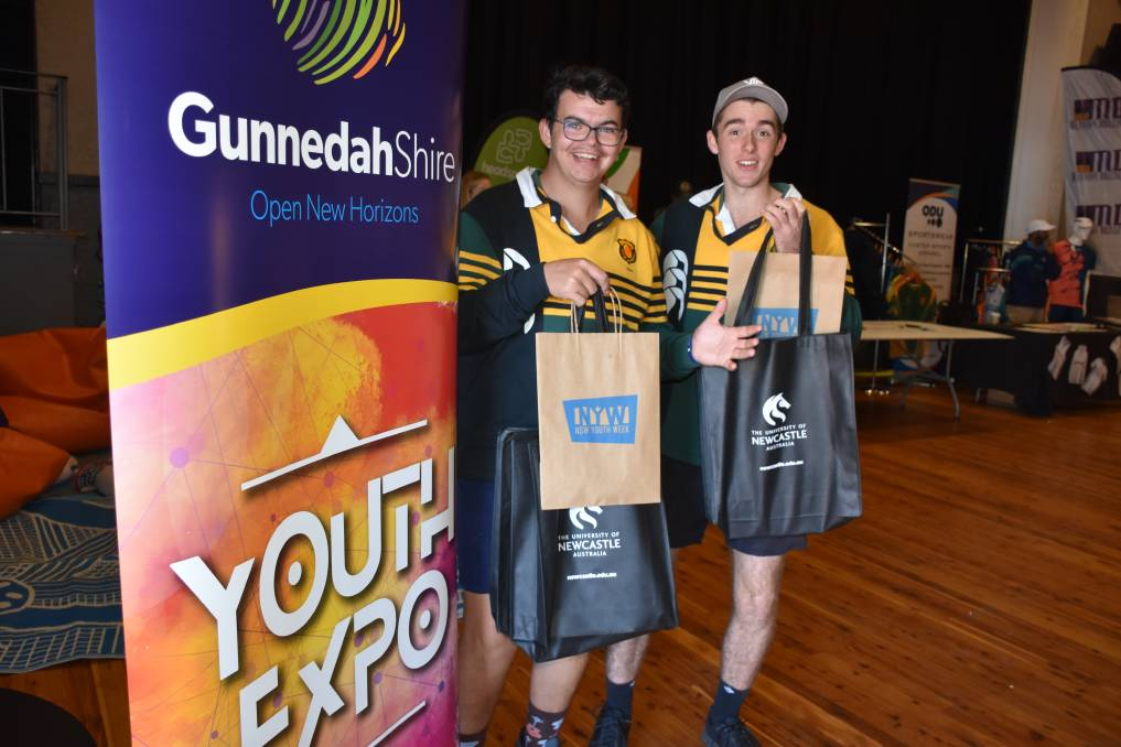 Gunnedah High School students Jack Trappel and Lachlan Moore at the 2021 Youth Expo. Photo: supplied